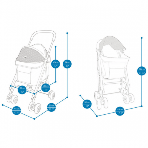 Astro Go Lite Pet Stroller Blue 1 |